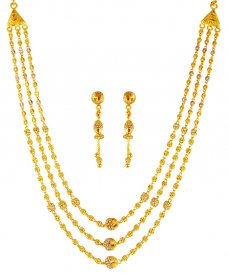 22k Gold Layered Necklace Set ( 22K Light Necklace Sets )
