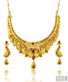 Gold Antique 22K Necklace Set ( 22K Antique Necklace Sets )