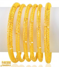 22Kt gold Bangles 6 PCs ( Gold Bangle Sets )