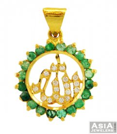 22K Gold Ali Pendant With Color CZ