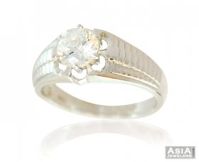 White Gold 18K Mens Ring With CZ