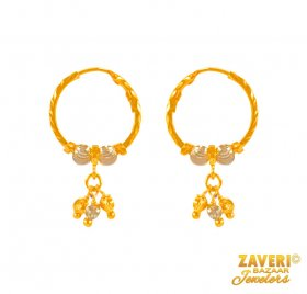 22Kt Gold Two Tone Bali  ( 22K Gold Hoops )