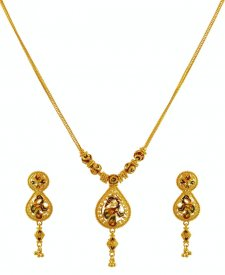 22K Gold Peacock Set ( 22K Light Necklace Sets )