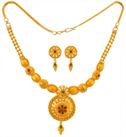 22K Gold Filigree Necklace Set
