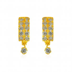 22Kt Gold CZ Earrings  ( Gold Clipon Earrings )