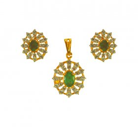 22kt Gold Pendant Set with Emerald ( Precious Stone Pendant Sets )