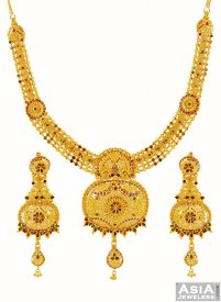 Meenakari Fancy 22k Necklace Set  ( 22K Gold Necklace Sets )