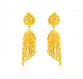 22k Yellow Gold Traditional Earring ( 22K Gold Earrings )