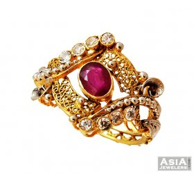 22K Fancy Antique Ruby Ring  ( 22K Gold Rings )