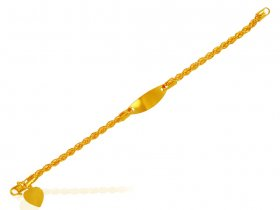 22K Gold ID Bracelet Rope Chain