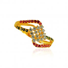22kt Gold Ring for ladies with Ruby and Emerald.