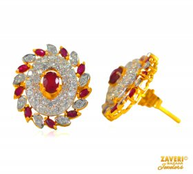 22 Kt Ruby and CZ Earrings  ( Gemstone Earrings )