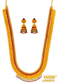 22 kt Gold Long  Temple Set ( 22K Antique Necklace Sets )