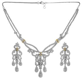 18kt White Gold Fancy Diamond Set ( Diamond Necklace Sets )