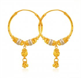 22K Gold Two Tone Hoops Earrings ( 22K Gold Hoops )