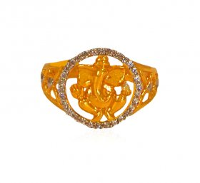 22K Gold Ganesha Ring ( Gold Religious Rings )