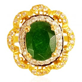 22k Gold  Emerald Ring  ( Gemstone Rings )
