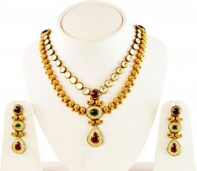 Kundan Gold Necklace Earring Set  ( 22K Antique Necklace Sets )