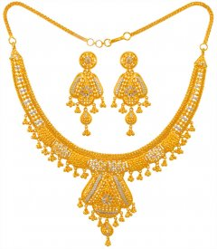 22 Karat Gold Two Tone Necklace Set