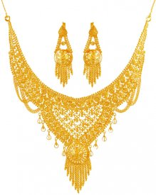 22K Fancy Filigree Necklace Set  ( 22K Gold Necklace Sets )