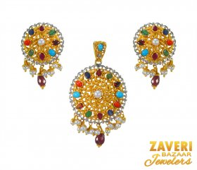 22K Multicolor Stone Pendant Set