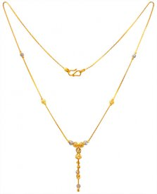 22K Gold Two Tone Chain For Girls