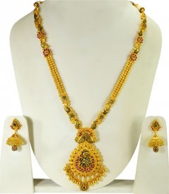 22k Gold Bridal Antique Long  Set ( 22K Necklace Sets (Long) )