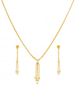 Fancy Light Weight Necklace Set 22K ( 22K Light Necklace Sets )