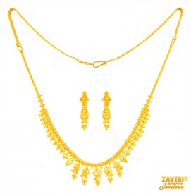 22 k Gold Traditional Necklace Set  ( 22K Light Necklace Sets )