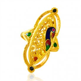 22Kt Gold Peacock Ring ( 22K Gold Rings )