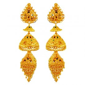 22K Gold Long Jhumka Earrings