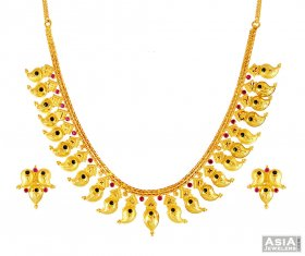 22k Gold Fancy Mango Mala Set ( 22K Gold Necklace Sets )
