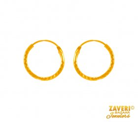 22 kt Plain Gold Hoop Earrings  ( 22K Gold Hoops )