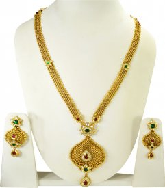 Gold Antique Patta Haar Set ( 22K Necklace Sets (Long) )