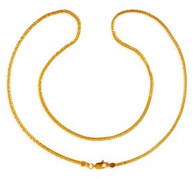 22K Gold Fox Tail Chain (20In) ( Plain Gold Chains )
