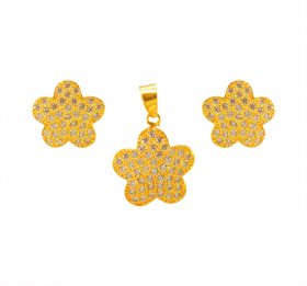 22K Designer Signity Pendant Set  ( Gold Fancy Pendant Sets )