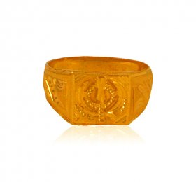 22 Kt Gold Fancy Ek Onkar Ring  ( Gold Religious Rings )