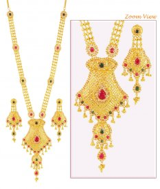 22K Precious Stones Patta Haar Set ( 22K Necklace Sets (Long) )