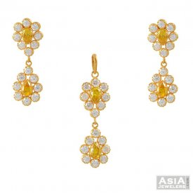 Pendant And Earring Set With CZ ( Gold Fancy Pendant Sets )