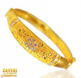 22Kt Gold Fancy Kada With CZ ( Gold CZ Bangles )
