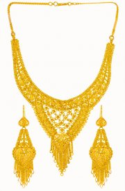 22 Karat Gold Necklace Earring Set