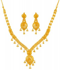 Fancy Filigree Necklace Set (22K) ( 22K Gold Necklace Sets )