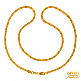 flat Chain 22 Kt Gold (18 In) ( Plain Gold Chains )
