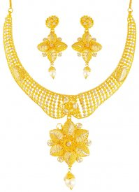 22k Gold Filigree Two Tone Necklace Set