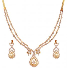 18K Gold Diamond Set ( Diamond Necklace Sets )