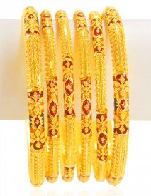 22Kt Gold Meena Bangles Set  ( Gold Bangle Sets )