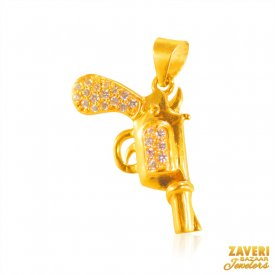 22 Karat Gold GUN Pendant ( Gold Fancy Pendants )