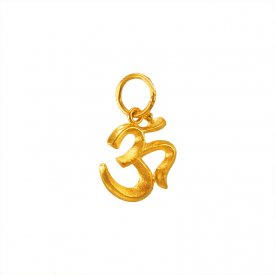 Small Plain Fancy Om Pendant 22k  ( Gold Om Pendants )
