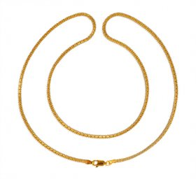 22 Karat Gold Two Tone Ladies Chain ( Gold Fancy Chains )