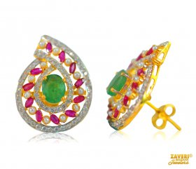 Designer Ruby Emerald Pearl Earring ( Gemstone Earrings )